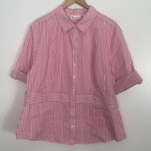 New York& C pink/white button up blouse sz XXL